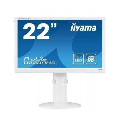 "Iiyama B2280HS-W1 22"" LED  VGA DVI HDMI Height Adjust  Pivot Speakers White"