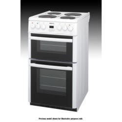 Beko BDV555AW 50cm Wide Double Oven Electric Cooker With Solid Hot Plate Hob White