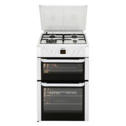 Beko BDVG697WP Double Oven 60cm Gas Cooker With Glass Lid White