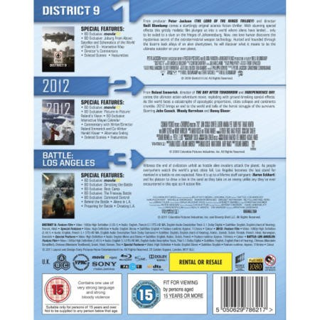 District 9 / 2012 / Battle of Los Angeles Blu-ray Triple Pack