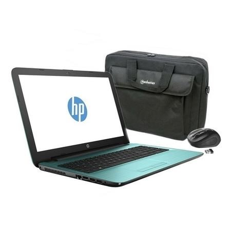 "Refurbished HP 15-ba077sa 15.6"" AMD A6-7310 2GHz 4GB 1TB DVD-RW Windows 10 Laptop in Teal  + 15.6"" Carry Case & Trust Wireless Mouse"