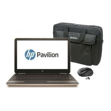 "BUN/A1/Y7Y81EA/69975 Refurbished HP Pavilion 15-aw084sa 15.6"" AMD A9-9410 2.9GHz 8GB 1TB Windows 10 Laptop in Gold with a 15.6"" Carry Case and Truse Wireless Mouse"