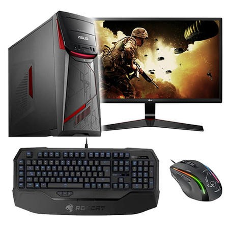 "BUN/G11CD-UK024T/70056 ASUS G11CD Core i5-6400 8GB 1TB GTX 970 Windows 10 Gaming PC with LG 27"" Monitor and Roccat Peripherals"