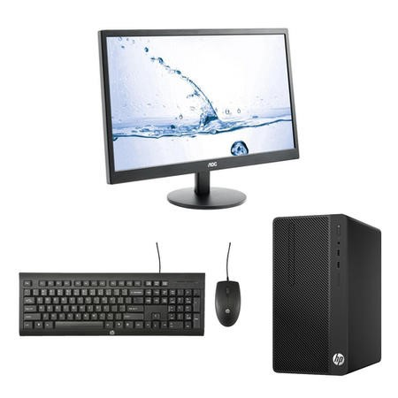"HP 290 G1 Core i3-7100U 4GB 500GB HD Win 10 Pro Desktop + AOC 23.6"" HDMI VGA Monitor Bundle"