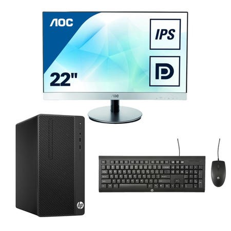 "BUN/1QN78EA/70220 HP 290 Core i3-7100 4GB 256GB SSD Win 10 Pro Desktop + AOC 22""  IPS VGA HDMI Monitor Bundle"