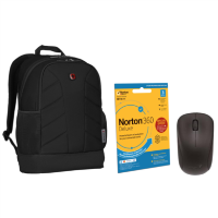 "15.6"" Wenger Laptop Backpack with Norton Internet Security & Wirless Mouse Bundle"