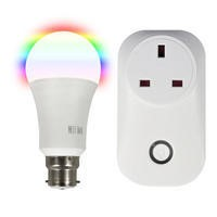 electriQ B22 Smart bulb and Wi-Fi plug Bundle