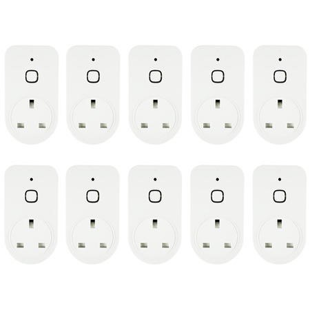 electriQ Smart Plug with power meter for energy monitoring - Alexa/Google Home compatible - 10 Pack