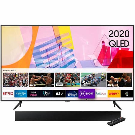 "Samsung QE65Q60TAUXXU 65"" 4K Ultra HD HDR10+ Smart QLED TV with Soundbar and Subwoofer"