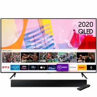 "Samsung QE75Q60TAUXXU 75"" 4K Ultra HD HDR10+ Smart QLED TV with Soundbar and Subwoofer"