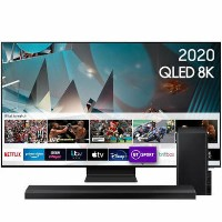 "Samsung QE82Q800TATXXU 82"" 8K Ultra Sharp HD HDR10+ Smart QLED TV with Soundbar & Subwoofer"