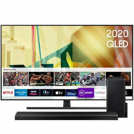 "Samsung QE85Q70TATXXU 85"" 4K Ultra HD Smart QLED TV with Soundbar and Subwoofer"