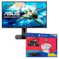 "Asus VG27VQ 27"" Full HD FreeSync Gaming Monitor with Sony PS4 500GB FIFA 20 + 2 x DualShock Controller Bundle"