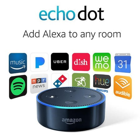 Amazon Echo Dot 2nd Generation Black with FREE B22 Smart Bulb