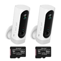 electriQ 720p HD Wireless Battery Cameras with Mounts & 64GB SD Cards - 2 Pack