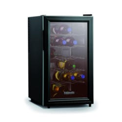 Baumatic BW18BL Freestanding 18 Bottle Beverage Centre Black With Smoked Black Glass
