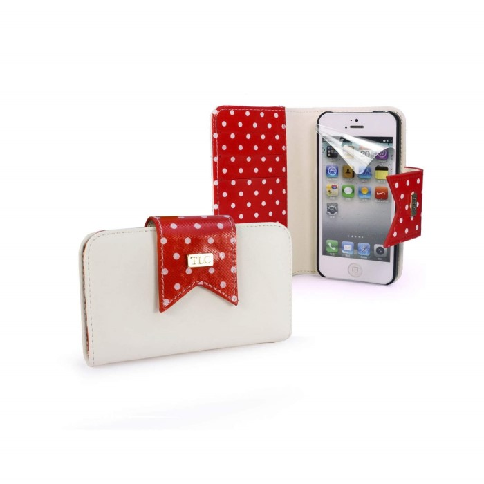 0ae3fbfb36f9 TLC Polka-Hot faux leather purse for Apple iPhone 5   5s free screen  protector - Red White C7 23