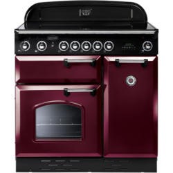 Rangemaster 84850 Classic 90cm Electric Range Cooker With Ceramic Hob - Cranberry And Chrome