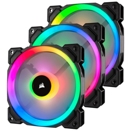 Corsair LL120 RGB 120mm Dual Light Loop RGB LED PWM Fan - 3 Fan Pack with Lighting Node PRO