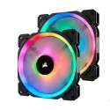 CO-9050074-WW Corsair LL140 RGB 140mm Dual Light Loop RGB LED PWM Fan - 2 Fan Pack with Lighting Node PRO