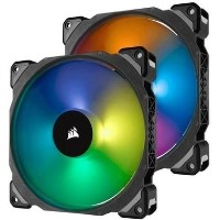 Corsair ML140 PRO RGB LED 140MM PWM Premium Magnetic Levitation Fan - Twin Fan Pack with Lighting Node PRO