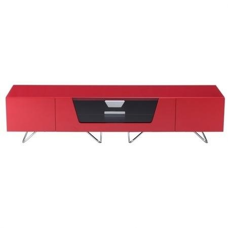 Alphason Chromium High Gloss TV Unit in Red With Glass Infra Red Friendly Door
