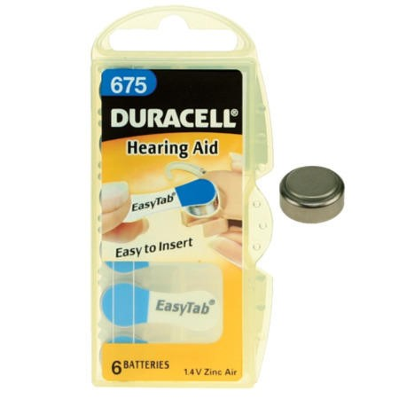 Duracell DA675 1.4v Hearing Aid Battery 1 x 6 Pack