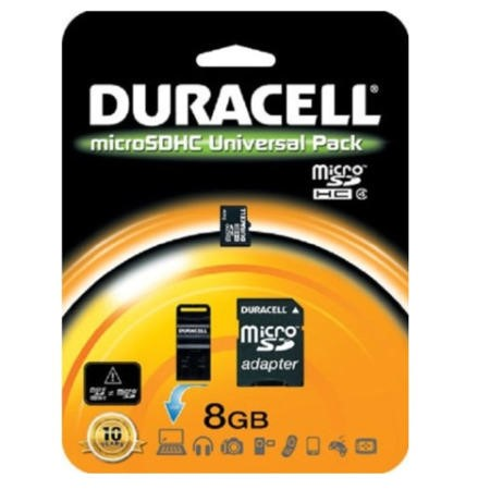 SDHC Card Memory Duracell 8GB Micro SDHC Connectivity Kit