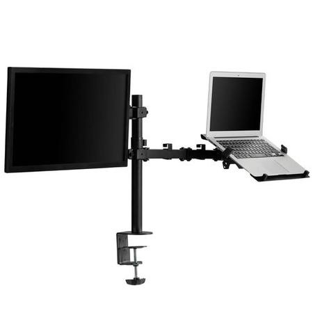 Dual Monitor Arm for Monitors up to 32 inch & Laptop/Tablet Shelf