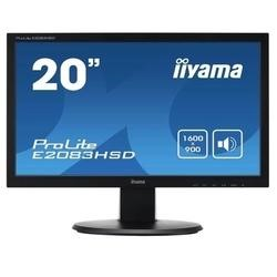 "Iiyama 20"" Black LED-Backlit Monitor 1600x900 16_9 2 x 2W Built-In Speakers VGA DVI-D VESA Mountable."