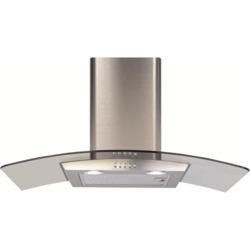 CDA ECP82SS Curved Glass 80cm Chimney Cooker Hood Stainless Steel