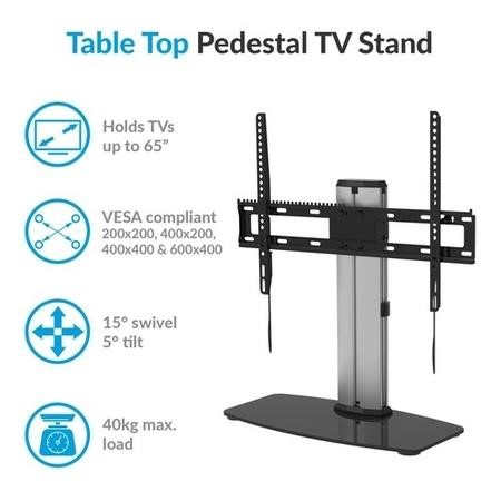 "electriQ Table Top Pedestal Stand for TVs up to 65"" with VESA up to 600 x 400"