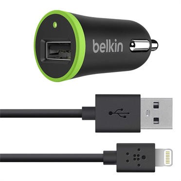Belkin Micro Car Charger 1 Amp with Removable Charge / Sync Lightning Cable for Apple iPhone/ iPad