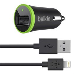 Belkin Micro Car Charger 2.1 Amp with Removable Charge / Sync Lightning Cable for Apple iPhone/ iPad