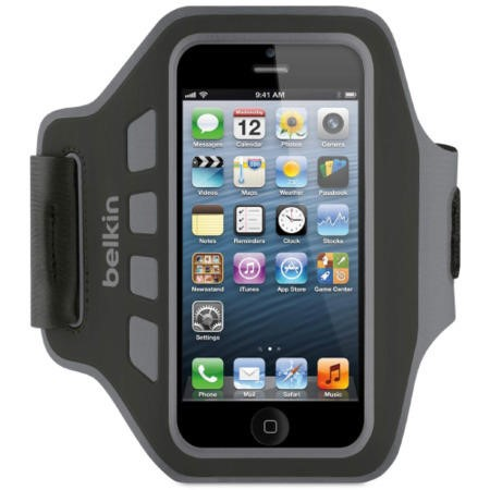 F8W299VFC00 Belkin Neoprene Slim EaseFit Armband for iPhone 5 in Black/Grey