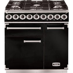 Falcon 69800 - 900 Deluxe 90cm Dual Fuel Range Cooker - Black And Chrome - Gloss Pan Stands