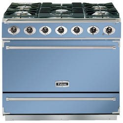 Falcon 87430 - 900S Dividable Single Oven 90cm Dual Fuel Range Cooker - China Blue And Brushed Chrome - Gloss Stands