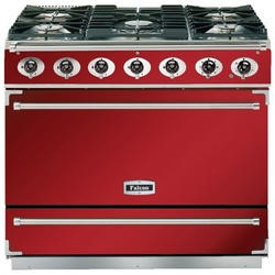 Falcon 87360 - 900S Dividable Single Oven 90cm Dual Fuel Range Cooker - Cherry Red And Brushed Chrome - Matt Stands