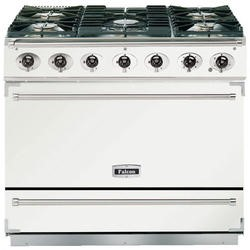 Falcon 87470 - 900S Dividable Single Oven 90cm Dual Fuel Range Cooker - White And Brushed Chrome - Gloss Stands