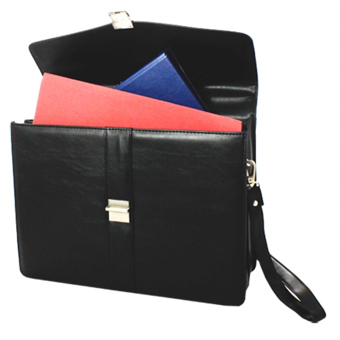 Falcon Synthetic Leather 2 Gusset Briefcase FI2580 Black