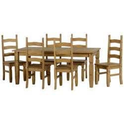 Seconique Original Corona Pine Dining Set - Large with 6 Chairs