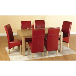 Seconique Belgravia Dining Set in Natural Oak with Red Chairs