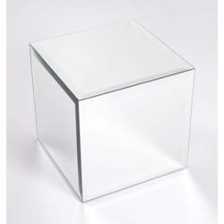 Morris Mirrors Coco Glass Cube Side Table in Silver