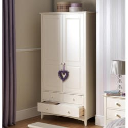 Julian Bowen Cameo Combination Wardrobe in Stone White