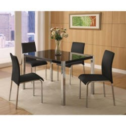Seconique Charisma High Gloss Dining Set- Black High Gloss Dining Table & 4 Black Fabric Dining Chairs