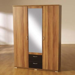 Seconique Hollywood Walnut and High Gloss 3 Door Mirrored Wardrobe