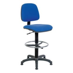 Teknik Office Pryce Swivel Textile Gas Lift Draughtsman Chair - draughting chair in charcoal with adjustable foot ring