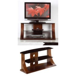 Jual Furnishings Langdon Black Glass TV Cabinet in Walnut
