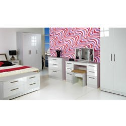 Welcome Furniture Knightsbridge High Gloss 6 Drawer Chest in White