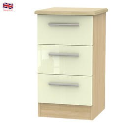 Knightsbridge High Gloss 3 Drawer Bedside Chest in Oak and Cream